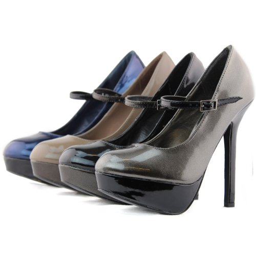 Kvinnor Pumpar Plattform Stilettos Hög Klack Stilettos Lackläder Mary Jane Pumpar Mode Skor Taupe
