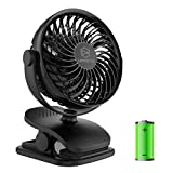 Battery Operated Clip on Fan and Desk Fan 2 in 1, Rechargeable Battery Fan Portable Baby Stroller Fan, USB or Battery Powered, Small Personal Fan with 4 Speeds for Office, Dorm and Outdoor Activity
