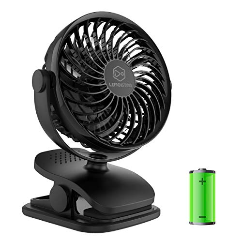 Battery Operated Clip on Fan and Desk Fan 2 in 1, Rechargeable Battery Fan Portable Baby Stroller Fan, USB or Battery Powered, Small Personal Fan with 4 Speeds for Office, Dorm and Outdoor Activity by LEMOISTAR