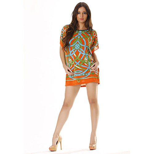 Miss Wear Line-Tunika, Dominanz orange gemustert