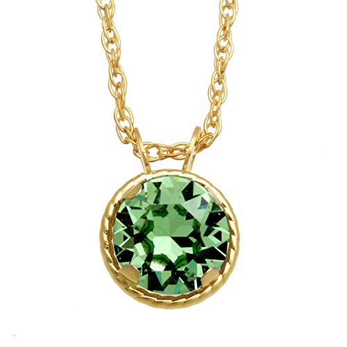 (Jewelili 10kt Yellow Gold 6mm Round Swarovski Peridot Crystal Solitaire Pendant Necklace, 18