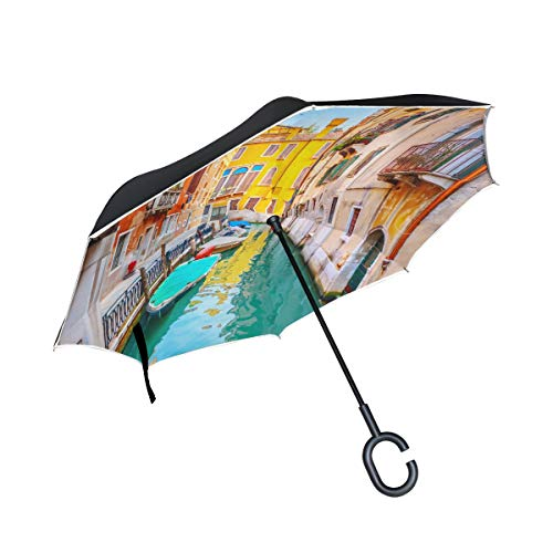 (KUneh Double Layer Inverted Venice Umbrellas Reverse Folding Umbrella Windproof Uv Protection Big Straight Umbrella for Car Rain Outdoor with C-Shaped Handle)