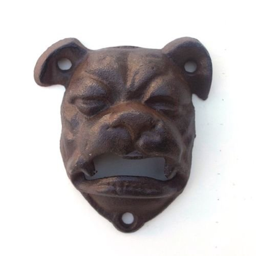 1 BullDog Cast Iron Bottle Opener Mountable Vintage Look Man Cave English DogMounting Screws Not Included