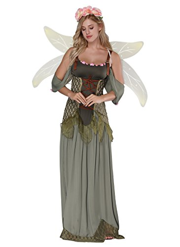4ba8cbecbbf JJ-GOGO Fairy Costume Women - Forest Princess Costume Adult Halloween Fairy  Tale Godmother Costumes