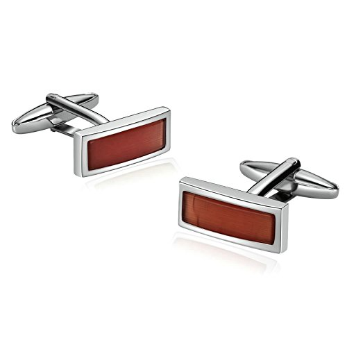 Epinki French Tuxedo Shirt Cufflinks for Men Stainless Steel Rectangle Zirconia Crystal Pierced Brown (Uk Gift Starbucks Sets)