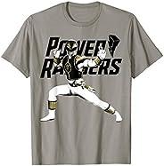 Power Rangers White Ranger Action Pose Logo T-Shirt