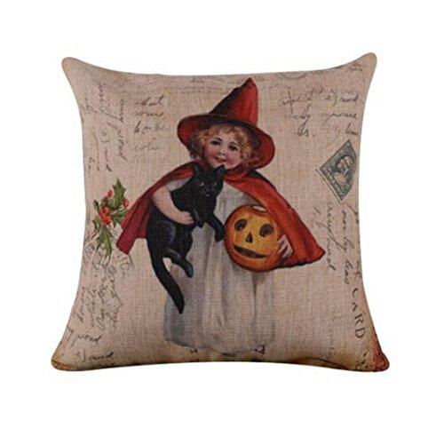Hot Sale!! Auwer Happy Halloween Pumpkin Castle Pillow Case Linen Blend Square Cushion Cover Waist Throw Durable Decorative For Sofa,Bed,Chair,Auto Seat,Home Decor Festival Gift Pillowcase 18'' (A) ()
