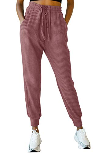 MIROL Women's Active Drawstring Joggers Pants Elastic Waist Waffle Knit Trousers Athletic Solid Color Sweatpants with Pockets