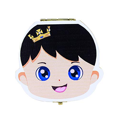 Niños de madera Caja de dientes de leche para bebés Bebé Organizador de almacenamiento de madera Caja de dientes de bebés...