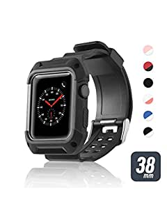 Zodaca Apple Watch 38mm Wristband, PU Rugged Adjustable Strap Design, Protective Shock Resistant, Sport & Fashion Replacement Band for iWatch Series 3 Series 2 Series 1, Black