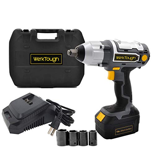 (Werktough 1/2 Inch Cordless Impact Wrench 18/20V Battery Operated Electric Impact Driver Wrench Kit Battery Charger Included IW03)