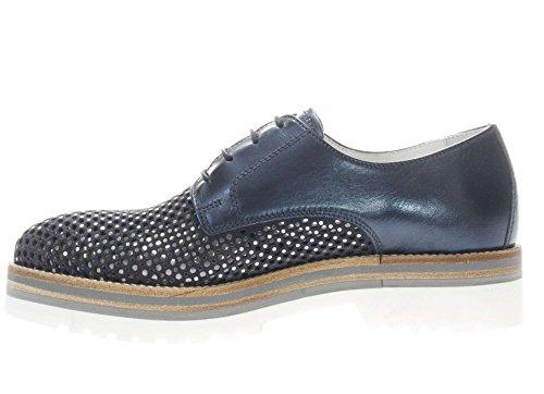 Cuero Peque Goma con Azul Mujer as Blanca y Ante Antideslizante para en Cordones Lentejuelas de Zapatos Giardini Perforado 36 N Plateadas con Nero Suela H0zOSq