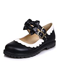Caddy WolfclawWomen Sweet Lolita Bow Tie Perforated Lace Low Heel College Students Mary Jane Pumps Shoes