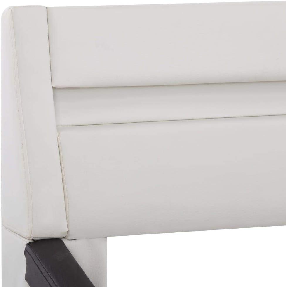 vidaXL Polsterbett mit LED Kunstlederbett Bett Einzelbett Bettgestell Bettrahmen Lattenrost Schlafzimmerbett Ehebett Grau 90x200cm