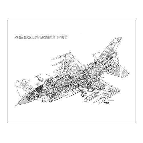 Media Storehouse 20x16 Print of Lockheed Martin F-16C Fighting Falcon Cutaway Drawing (1569733)