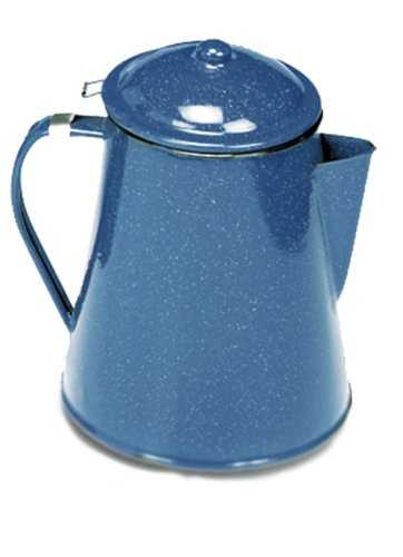 Texsport Camping Enamel Percolator Coffee Maker, Blue, 12 Cup