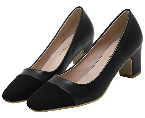 Odomolor Women's Pull-on Blend Materials Solid Kitten-Heels Pumps-Shoes Black QHhCbGSs