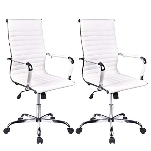 ELECWISH Adjustable Office Executive Swivel Chair, High Back Padded, Tall Ribbed, Pu Leather, Wheels Arm Rest Computer, Chrome Base, Home Furniture, Conference Room Reception White Set of 2