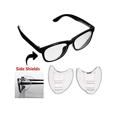 e4f7061a6cf Gechiqno Goggles Glasses - Side Shields Safety Protection Eye Protector  Flexible Clear Universal Unisex-Fits Small Medium Large Eyeglasses (2 Pairs)