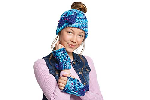 Make It Real - Knitting: Beanie Bun & Gloves. DIY Arts and Crafts Kit Guides Kids to Crochet a Beanie and Fingerless Gloves with Acrylic Yarn by Make It Real (Image #3)