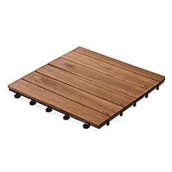 casa pura Interlocking Patio Tiles | Acacia Wood Deck Flooring | Suitable for Indoor and Outdoor Applications | Stripe Pattern | 12x12 inches - Pack of 11 Tiles