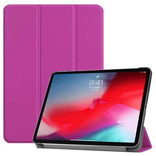 (LATINTOUR iPad Pro 11 Case - Ultra Lightweight PU Leather Smart Cover with Trifold Stand and Auto Sleep/Wake Function Protective Case for Apple iPad Pro 11-inch 2018 Verizon (Purple))