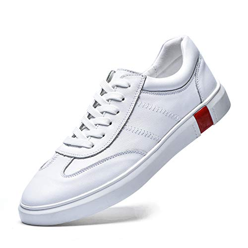 BEAUSEEN Men's Boy's Classic Genuine Leather Skate Shoes Color Block Lace Up Fashion Low Top Sneakers White Red Size 10.5 BES-2012BAI105]()