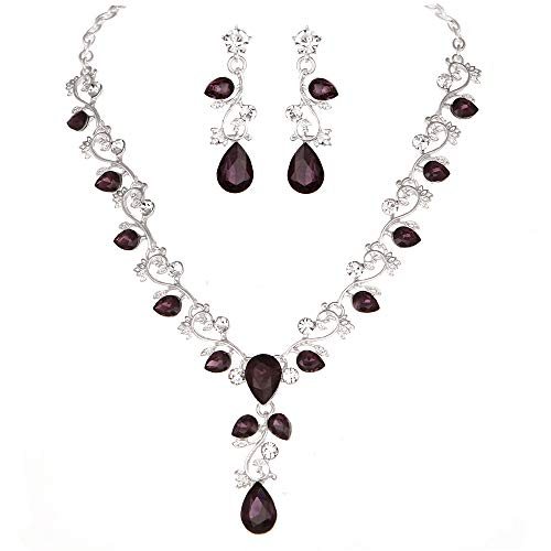 Youfir Leaf Vine Crystal Necklace Earrings Jewelry Set for Bridesmaids V-Neck Formal Evening Dress ()