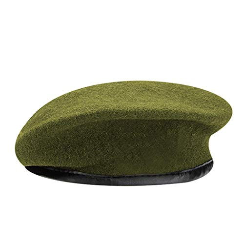 - British Military Berets with Leather Sweatband, Adjustbale Army Black Wool Beret (One Size, Green)