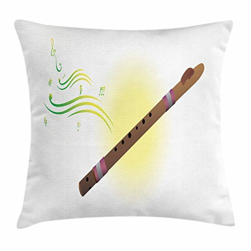 Flute Throw Pillow Cushion Cover, Melodic Instrument of Woodwind Group Native Ethnic Indigenous Aerophone Mouthpiece, Decorative Square Accent Pillow Case, 18 X 18 Inches, Multicolor
