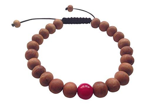 Tibet Coral Beads - Tibetan Mala Wood Bead Wrist Mala Bracelet for Meditation (Coral)