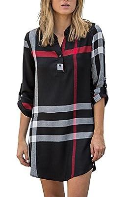 Farktop Women's Casual Plaid V Neck Roll Up Sleeve Long Blouse High Low Mini Tunic Shirt Dress