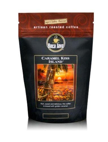 Caramel Kiss Island Coffee, Caramel Flavored Coffee, Whole Bean, 8oz (2 Pack)
