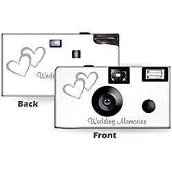5 Pack Coupled Hearts Wedding Disposable Camera, Wedding Camera, Anniversary Camera, from CustomCameraCollection WM-50346-C