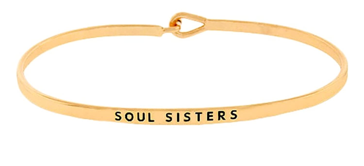 """Soul Sisters"" Gold Tone Engraved Thin Brass Bangle Hook Bracelet for Best Friends, BFF Besties"