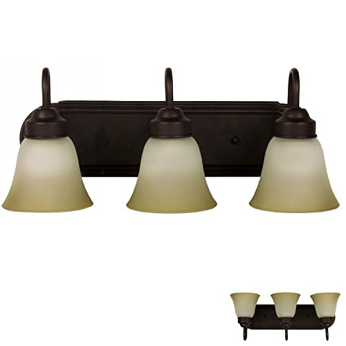 Three Globe Bathroom Vanity Light Bar Bath Fixture, Oil Rubbed Bronze with Frosted Glass and Tinted Highlights