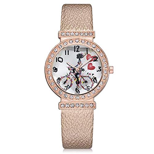 Womens Quartz Watches, Windoson Fashion Metal Retro Round Dial Quartz Analog Alloy Wrist Watch with Leather Band and Rhinestone Rose Gold Plated Dial, Lady Watches Female Watches (Round Dial Plate Belt)