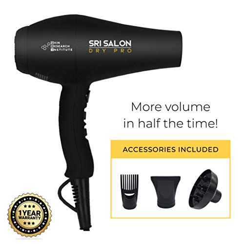 Skin Research Institute Salon Dry Pro - Red Light Therapy Professional Salon Ceramic Ionic Volumizing Anti-Frizz Hair Blow Dryer 1875W Dual Voltage | Free Concentrator Diffuser and Comb Attachments