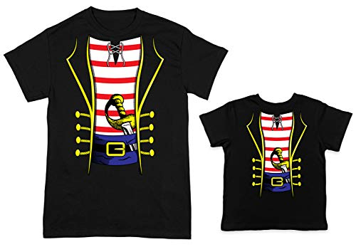 HAASE UNLIMITED Pirate Costume 2-Pack Toddler & Men's T-Shirt (Black/Black, Large/2T) ()