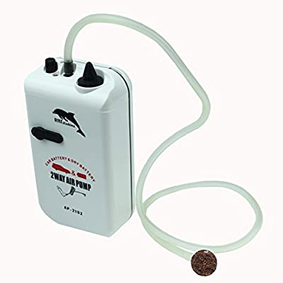 Posa 5 Watt Fish Air Pump 2 Ways Power Supply for Aquariums Outdoor Fit for Fish Tanks from 10 to 30 Gallons with 2 Grades of Air