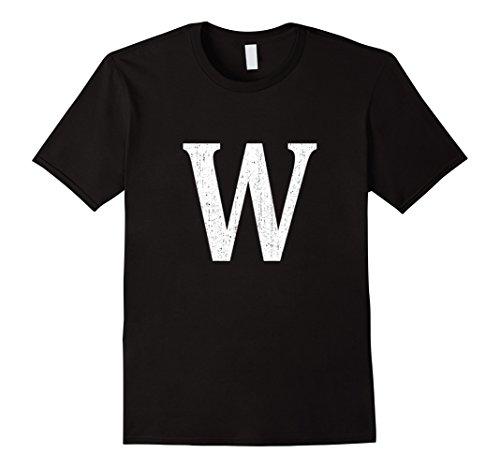 Mens Capital Letter W T-Shirt 2XL Black (Alphabet Tee)