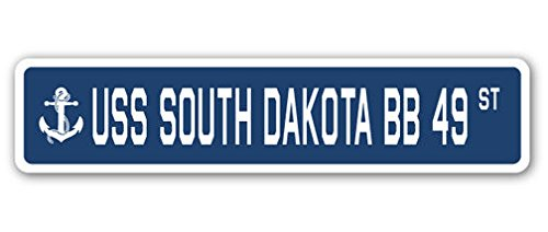 (Cortan360 USS South Dakota Bb 49 Street Sign Decal Sticker US Navy Veteran Military)