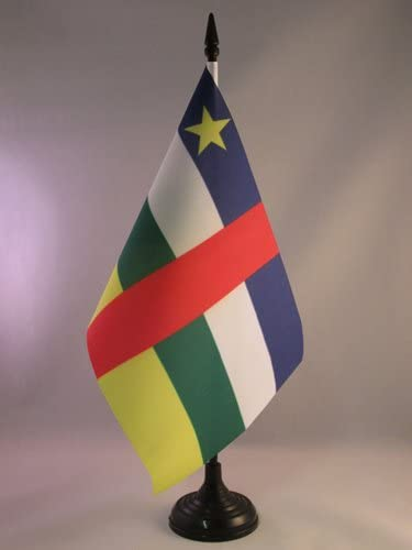 Central Africa Desk Flag 21 x 14 cm Black plastic stick and base AZ FLAG Central African Republic Table Flag 5 x 8