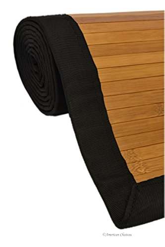 (American Chateau 8' x 2.5' Natural & Black Trim Slat Bamboo Floor Carpet Area Rug Mat Runner)