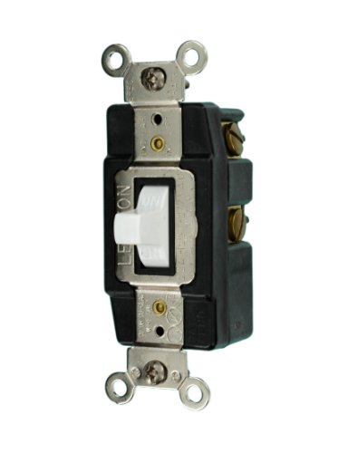 Leviton 1285-W 20-Amp 120/277-Volt Toggle Single-Pole AC Quiet Switch, White