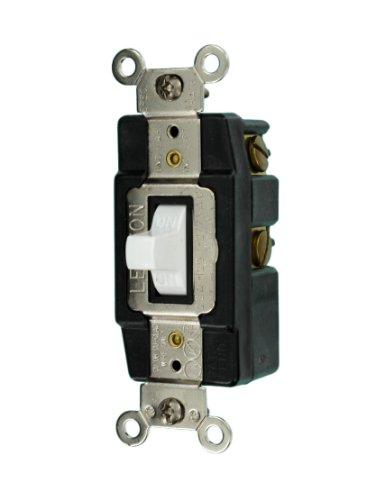 (Leviton 1285-W 20-Amp 120/277-Volt Toggle Single-Pole AC Quiet Switch, White)