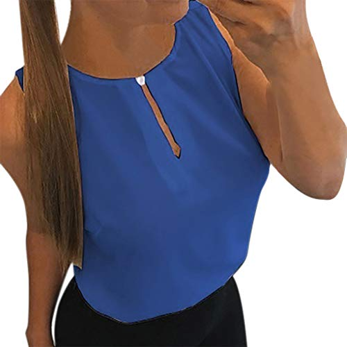 YEZIJIN Women's Solid O-Neck Sleeveless Tank Tops Casual T-Shirts Vest Blouse Blue -