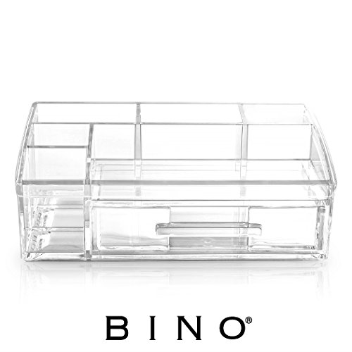 BINO 'The Academic' 7 Compartment Acrylic Makeup and Jewelry Organizer with Removable Drawer, Clear and Transparent Cosmetic Beauty Vanity Holder Storage