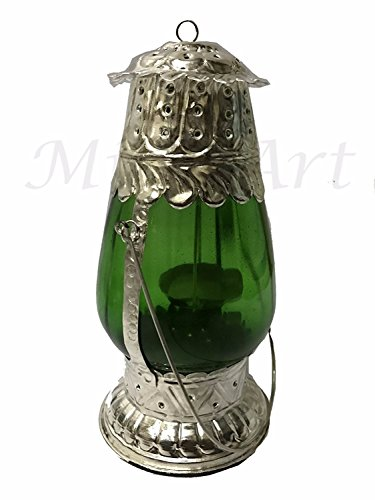 Global Art World Traditional Lamps And Lighting Dubai Style Antique Arabic Look Hanging Green Glass Panels Table Top Candle Lanterns Lamp ML - Dubai Shades
