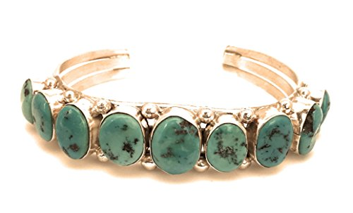 Masha Sterling Silver Bracelet By Huge Vintage, Blue Kingman Turquoise, Made in USA - Exclusive Southwestern Handmade Jewelry, 9 Stone Wedding (Sterling Turquoise Vintage Bracelets)